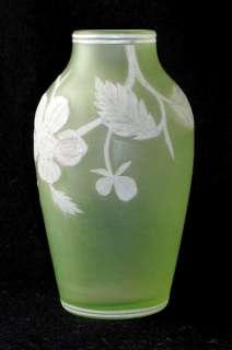English art glass white/vaseline hand carved cameo vase