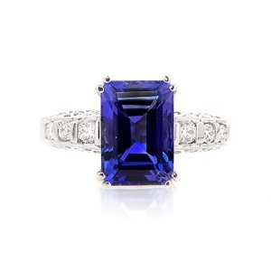 Emerald cut Tanzanite & Diamond Ring Jewelry