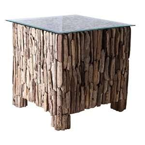 Square Driftwood Coffee Table SHORE with Glass Top, 20