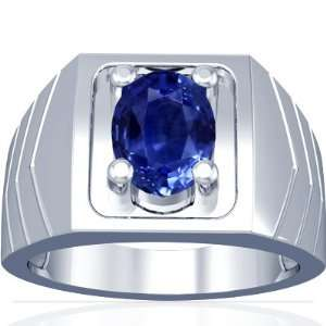 14K White Gold Oval Cut Blue Sapphire Solitaire Ring
