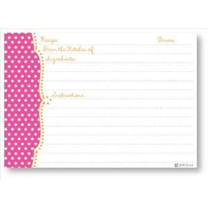 Recipe Cards   Pink Dots Scalloped Edge