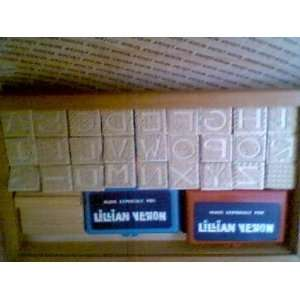 Alphabet Rubber Stamps in Wooden Box
