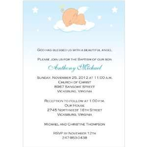 Cloud Nine Boy Baptism Invitations Christening Invitations
