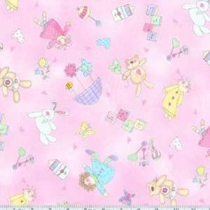 45 Wide Babys 2nd Step Rag Dolls Pink Fabric By The