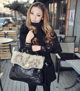 Classic Design Lapin & PU Leather Black / Brown / Khaki Hand Bag