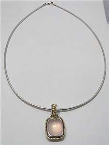 STERLING SILVER PINK QUARTZ PENDANT ON CHAIN SIGNED LORENZO