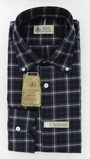New $375 Borrelli Navy Blue Shirt 16/41