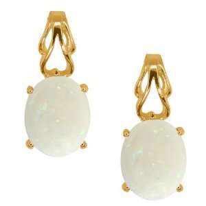 3.20 Ct Oval/cabouchon White Opal 10k Yellow Gold Earrings