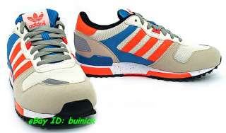 ADIDAS ZX 700 Trainers Beige Orange Blue Suede Mesh running new UK8