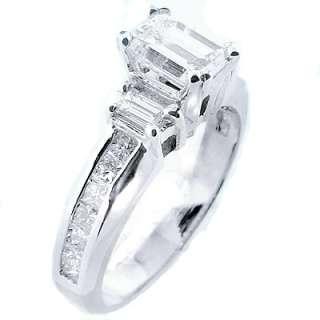 98 Ct. Real Emerald Cut Diamond Engagement Ring