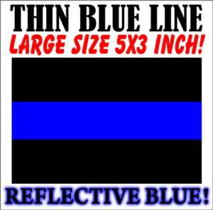 THIN BLUE LINE FOP Police Reflective Decal Sticker 5x3
