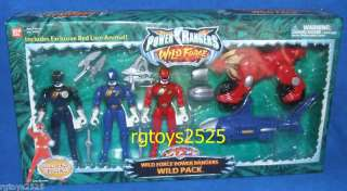 Power Rangers Wild Force Black Blue Red Lion Zord + New