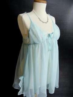Marilyn Monroe BLUE Sheer Nightie Babydoll Chemise L LG