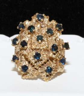 Estate 14K Solid Gold 2.25ct Sapphire Large Detail Ring