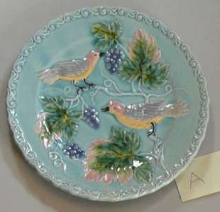 Antique Majolica German Zell Bird Berry Blue Plate A