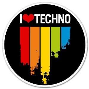 I Love TECHNO music sticker decal 4 x 4