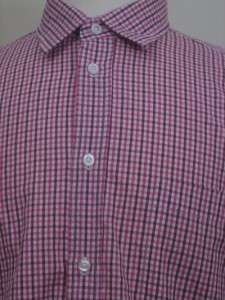 ZEGNA sport slim fit mens shirt SIZE LARGE L red white burgundy micro