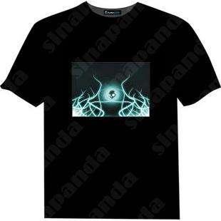 "sinapanda Up and Down Light Sound Activated LED EL T Shirt ""cartoon"