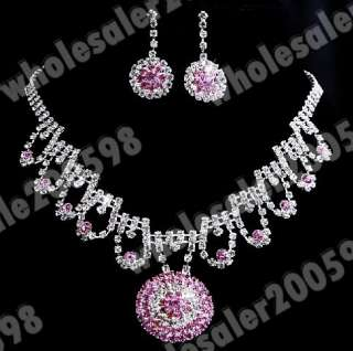 pretty pink round wedding party Rhinestone jewerly 1Set