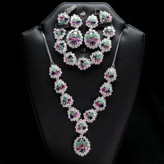 SUMPTUOUS NATURAL TOP EMERALD RUBY SAPPHIRE CZ WHITE GOLD PLATED 925