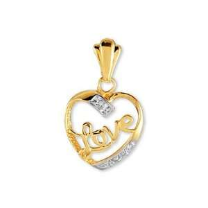 Solid 14k Yellow White Rose Gold CZ Love Heart Pendant Jewelry