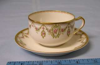 Antique Haviland Limoges Schleiger 1202 cup & saucer porcelain swag