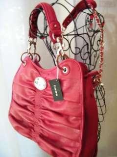 BEBE bag purse handbag SATCHEL pocketbook red Taylor Ruched tote