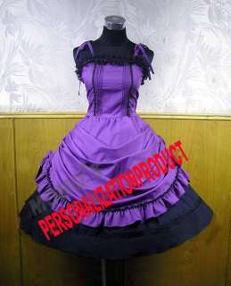 Sweet gothic lolita Belle Ball Gown Prom Purple Cosplay Knee Length