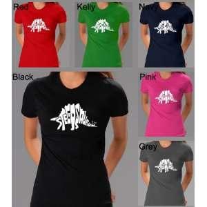 Womens Kelly Green Stegasaurus Shirt XL   Dinosaur design created out