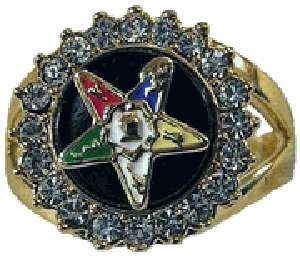 18 kt Gold gp Masonic Eastern Star Ring Size 5 10