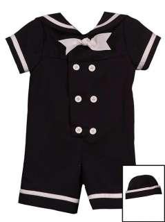Boys Navy Sailor Nautical 2 Piece Suit & Hat Outfit Set 18M