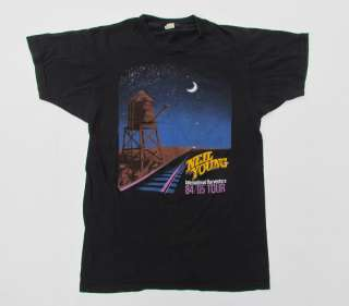 Vtg 1984 NEIL YOUNG Tour T Shirt 80s Rock Music Soft Screen Stars