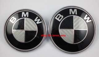 High Quality BMW Carbon Fiber 82mm + 74mm Hood Trunk Emblem Badge E36