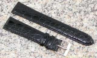 19mm OMEGA NOS Genuine CROCODILE Watch Band BLACK Strap item #OM3
