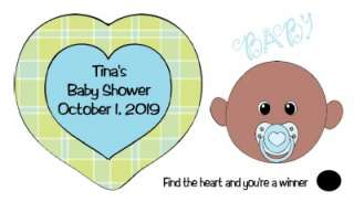 Baby Shower Scratch off Cards Baby Face Boy African American 40