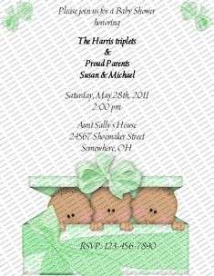 Triplets Personalized Baby Shower Invitations