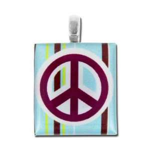 19mm Peace Sign Scrabble® Tile Pendant Arts, Crafts