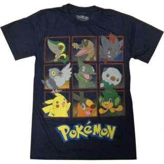 Pokemon Black & White Characters Men Anime T shirt (Navy Blue)