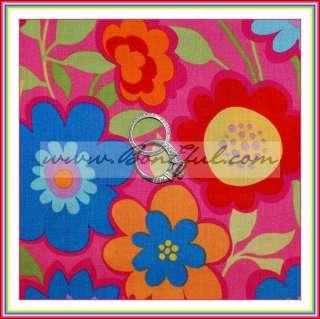 BOOAK Fabric Pink Red Aqua Flower VTG OOP Groovy Cotton FQ BOHO