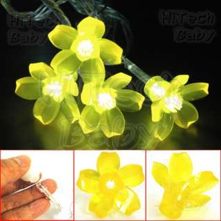 20x Yellow CHERRY BLOSSOM Ornament Add On Cap for 5mm LED String Fairy