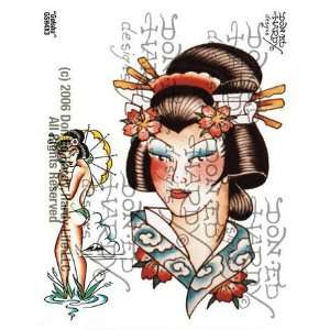 Geisha / Chinese Women Tattoo, 4 X 3 Office Products