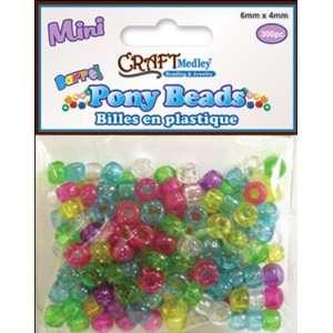 Mini Barrel Pony Beads 6mmX4mm  Sparkle Multi Mix