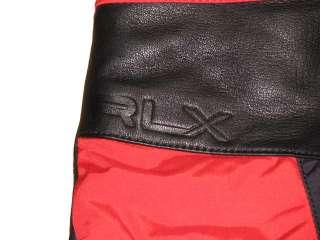 130 NWT POLO RALPH LAUREN RLX MENS BLACK RED LEATHER SKI SNOW GLOVES