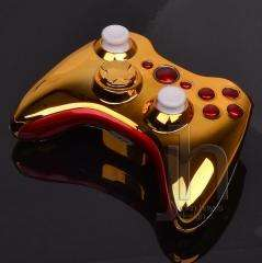 MODDED XBOX 360 CHROME GOLD AND RED WIRELESS CONTROLLER SHELL CASE MOD