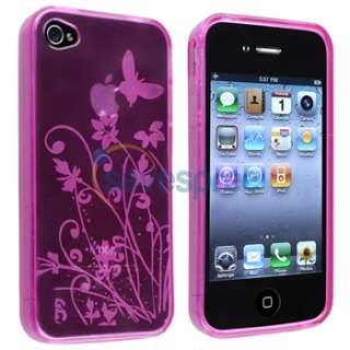 Pink Flower Skin Silicone Gel Case Cover+Privacy Film for Apple iPhone