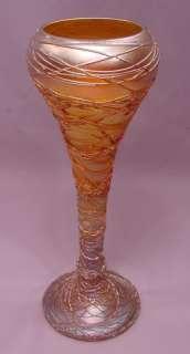 Extraordinary Antique Quezal Iridescent Threaded Art Glass Vase