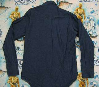 vtg Wrangler Dark BLUE DENIM WESTERN Work Shirt L 16 34 cowboy 90s usa