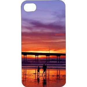 Clear Hard Plastic Case Custom Designed Beach Sunset at Pier iPhone
