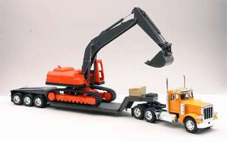 Peerbil 379 Big Rig wih Backhoe and Lowboy railer (cab is die cas