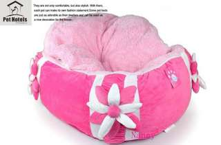 Princess Pink Flower Warm and Soft Pet Dog Cat Bed House Medium coral